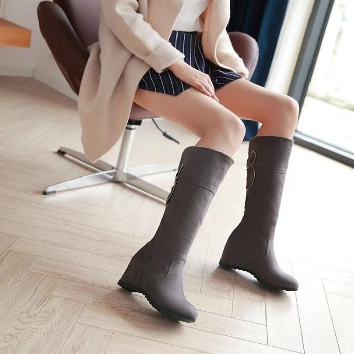 Femme Botte Mi-Longue couleur unie Classique Romantique Simple Printemps Eté Automne Nouveau Mode