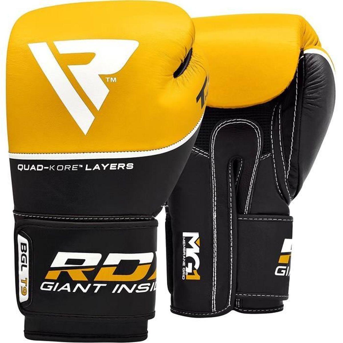 RDX Gants de Boxe Muay Thai kickboxing Cuir Vachette Gant Sac Frappe Sparring Entrainement Mitaines Competition Boxing Gloves T9Y