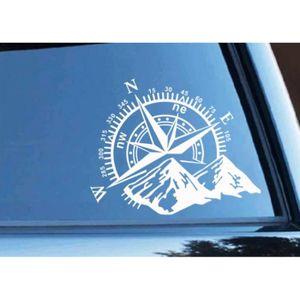 Autocollant sticker voiture moto boussole compass vintage r4 nautique