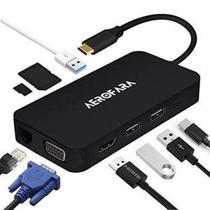 ADAPTATEUR AUDIO-VIDÉO  Hub USB C Adaptateur USB C avec VGA et HDMI,USB C