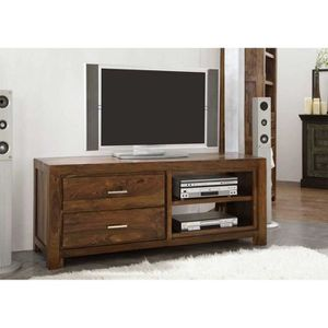 meuble tv bois massif de sheesham palissandre couleur miel fonc metro life 109 achat. Black Bedroom Furniture Sets. Home Design Ideas