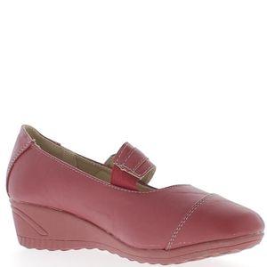 BALLERINE Chaussures femme rouges confort talon compensé de