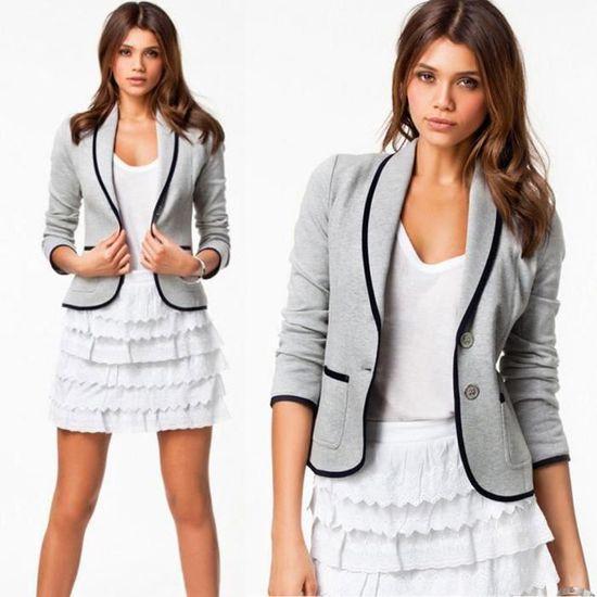 S Veste Gris Slim Outwear 6xl Taille Manteau Longues Les Manches D TRxwZpOqR