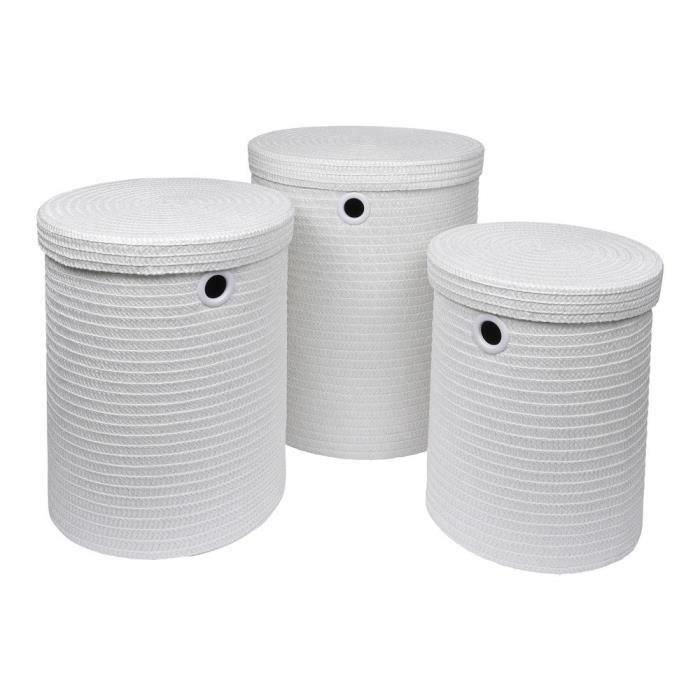 Lot de 3 paniers à linge 18x29x45 cm Blanc