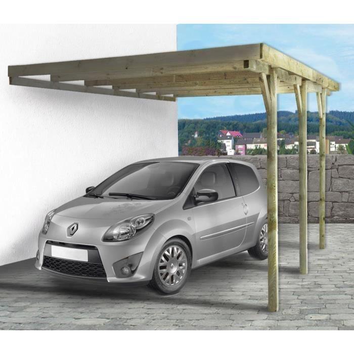Carport voiture adossant Gus - 15.77 m² - 3.01 x 5.24 x 2.58 m