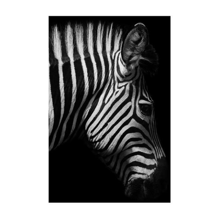 Toile Imprimee Zebre 66 X 95 Cm Noir Blanc Achat Vente Tableau