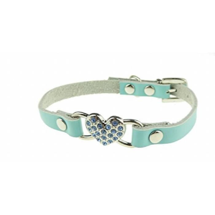 Superbe Cuir Extra Doux Sparkly Diamante Coeur Miniature Chien Chaton Chat Coll S7eme