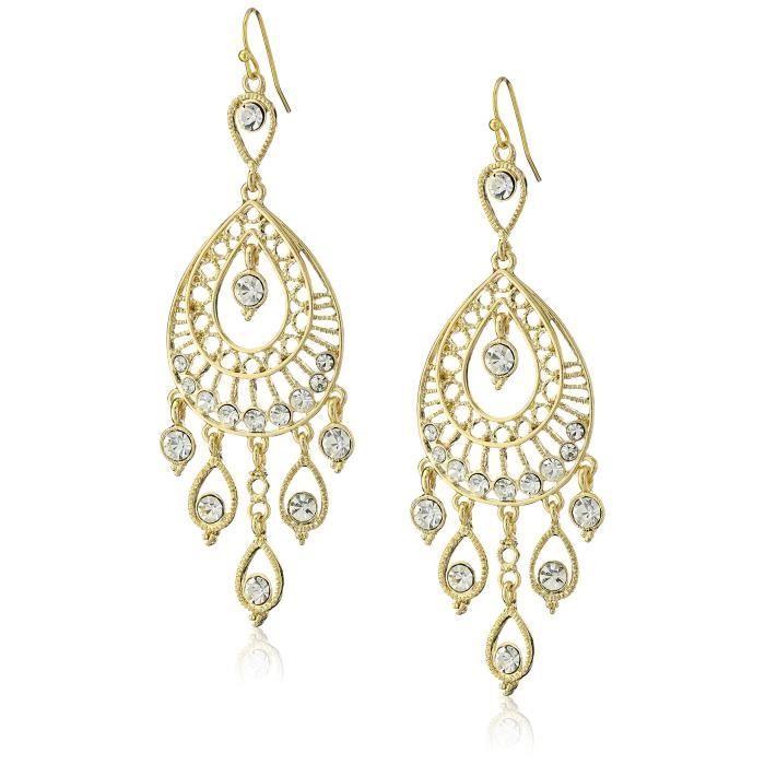 1928 Jewelry Gold-tone Crystal Filigree Teardrop Earrings Z424F