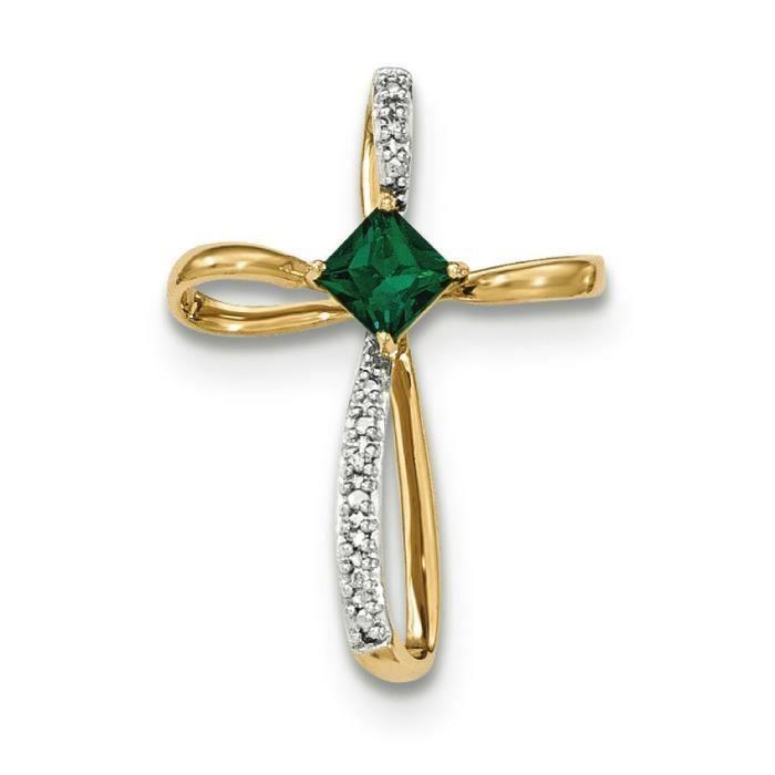 Labcreated 14 carats avec émeraude et diamant-Croix