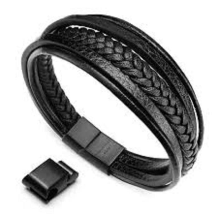 bracelet homme cuir tresse achat vente pas cher. Black Bedroom Furniture Sets. Home Design Ideas