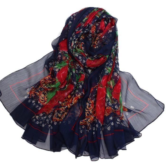 9ba138e3be4a MiVogue Foulard Femme Longue En Mousseline de Soie Echarpe Femme Elégant  Châle Etole Chèche Voile Fille Imprimé Fleurs