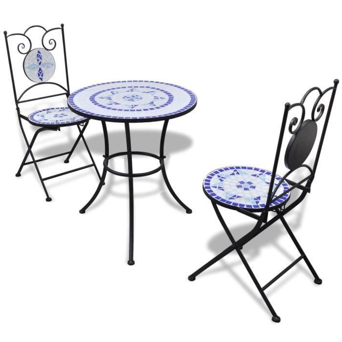Set table ronde 60 cm mosaïque + 2 chaises bleu / blanc - - Achat ...