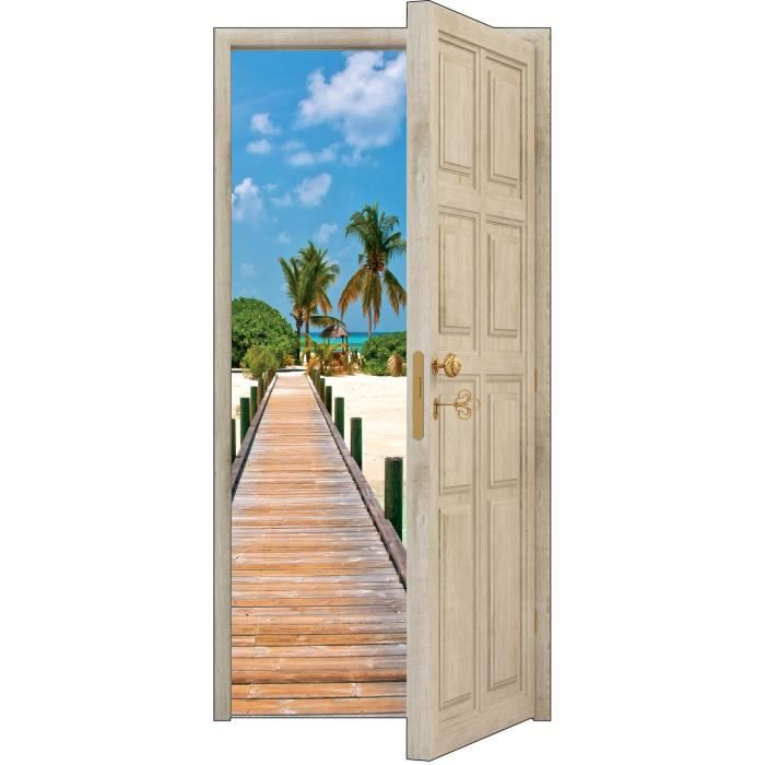 sticker porte trompe l oeil les maldives 88x200cm ref 850 achat vente stickers cdiscount. Black Bedroom Furniture Sets. Home Design Ideas