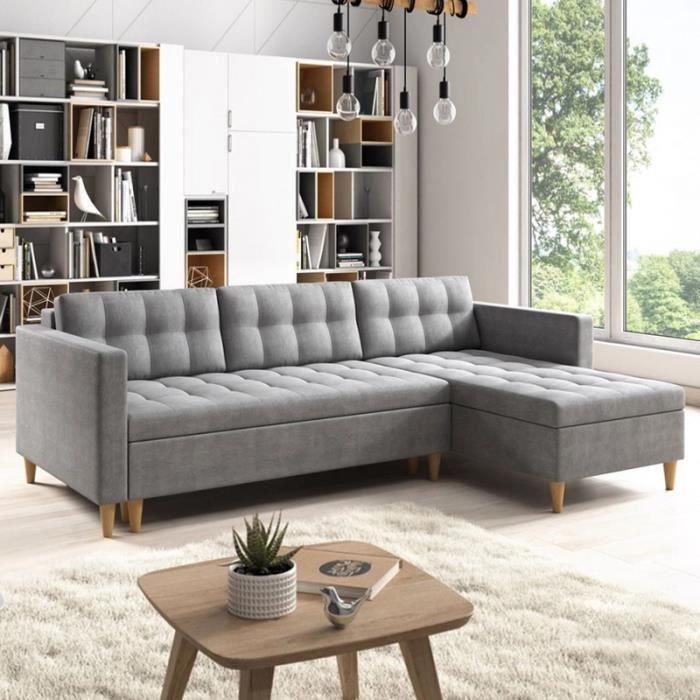 canap scandinave avec ses coussins helly pieds en bois. Black Bedroom Furniture Sets. Home Design Ideas