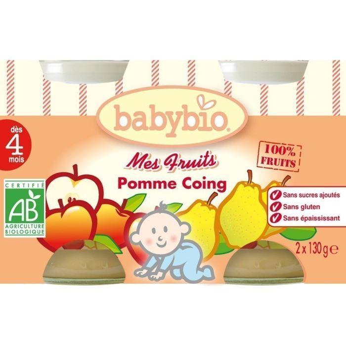 DESSERT FRUITS BÉBÉ Mes fruits Babybio Pomme Coing - Dès 4 mois (2)