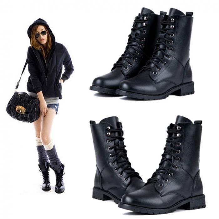 Militaires courtes Bottes femme Chaussures bottes de cuir Mode féminine