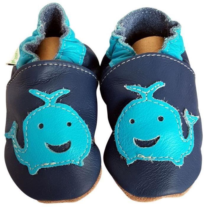 C2BB - Chaussons de bebe en cuir souple   Baleine Taille: 18-24 mois 91WKuEs0wZ
