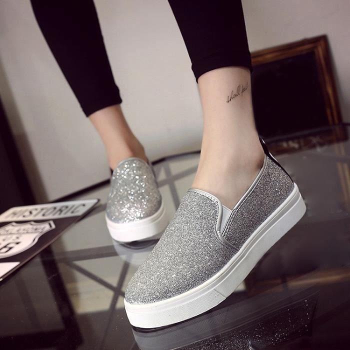 Chaussures plates occasionnelles de printemps des femmes de Slip-On Sequins Loafer Shoes @SJF71220731SL Vt5CBAeqmz