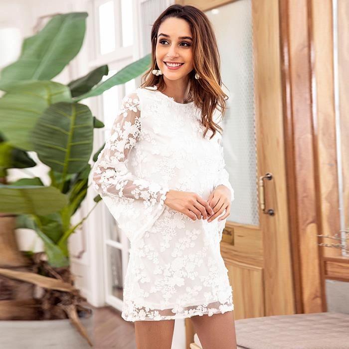Femme Dos en Nu Courte Manches Robe Transparent Blanc Ajourée Dentelle Broderie EXHPwq7