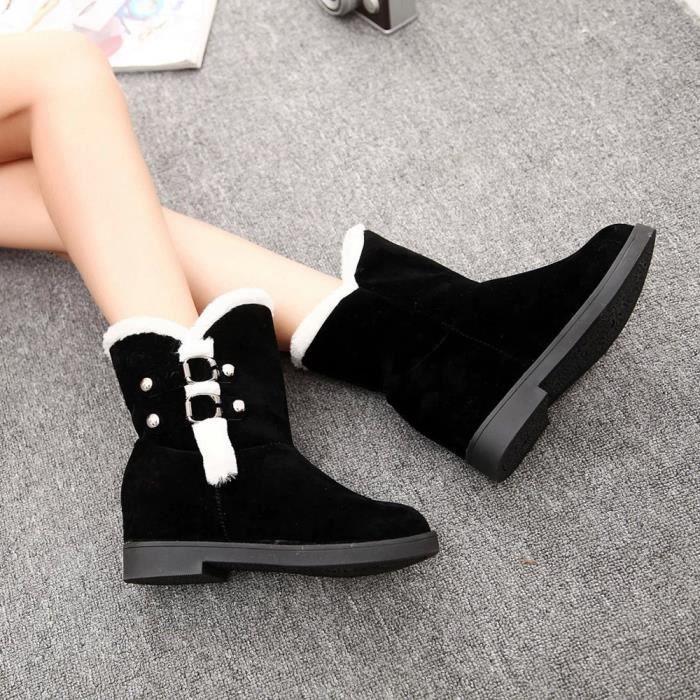 09a35bba0 Femmes chaudes Bottes de neige Plate-forme Bottines Bottes d'hiver  Chaussures Femme Slip Noir