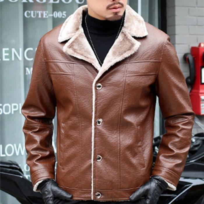 Marron Lapel En Veste Hiver Imitation Homme Manteau Mode Pure Cuir Hauts Bouton Color 7qUwRwZ1Y