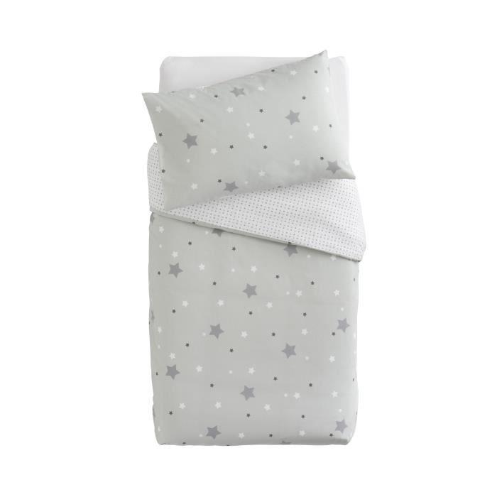 linge de lit enfant gris DOUX NID Parure Couette + Taie Little Stars Imprimé Etoiles Gris  linge de lit enfant gris