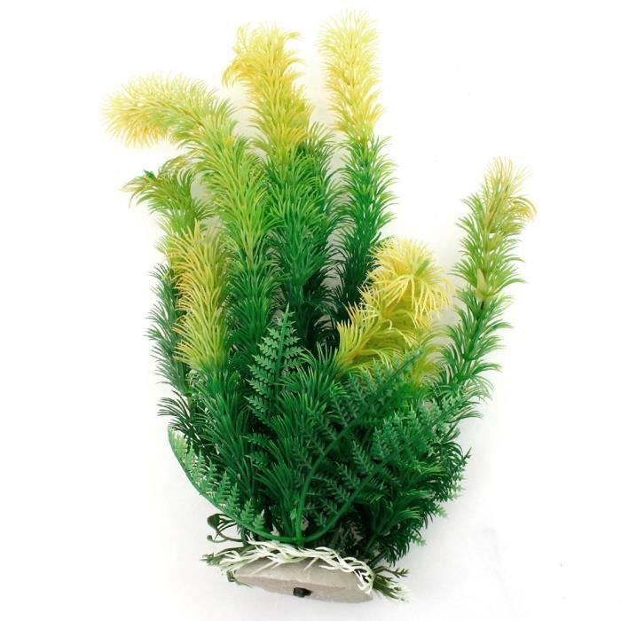 """Sourcingmap 10.2"""" Haut Vert Jaune Plante Artificielles Décor Aquarium"""