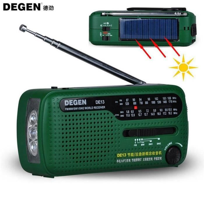 Degen Marque Fm Radio De13 Mw Sw Crank Dynamo Urgence Solaire Récepteur Mondial