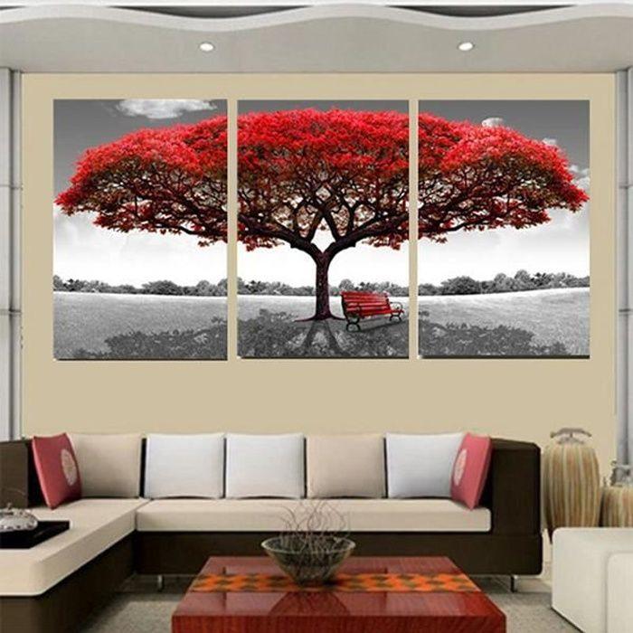 Tableau toile tempsa 3pcs tableau peinture à huile rouge arbre d