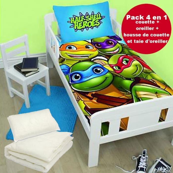 linge de lit tortue 4 en 1 Tortues Ninja Parure de lit housse de couette 120x150 + 1  linge de lit tortue