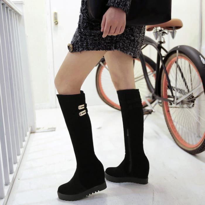 martin boots-Pur talon Couleur Wedge Femmes Avec Bottes Zippers Side M tal D coration