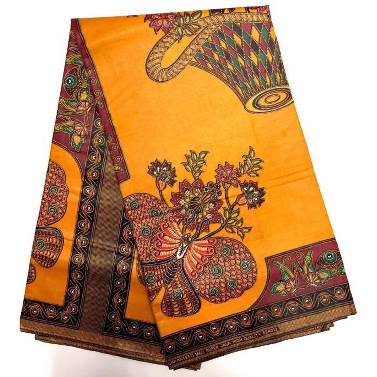 wax tissu pagne africain modele type java imprim 6 yards 100 coton achat vente tissu wax. Black Bedroom Furniture Sets. Home Design Ideas