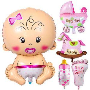 BALLON DÉCORATIF  Version ITS A GIRL Pink - Joyeux Anniversaire 5 Pc