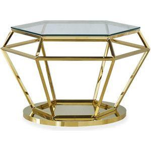 TABLE BASSE Table basse Aston en Verre Transparent et Pied Or