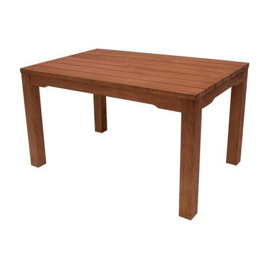 Table rectangulaire salon de jardin bois d\'eucalyptus huilé 130x80cm ...