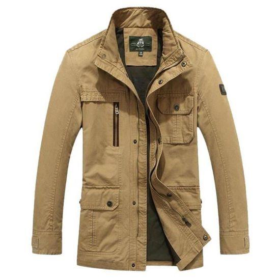 100 Col Couleur Veste Unie Zippée Coton Casual Homme Montant Blouson Multipoches Automne 6xI5vq