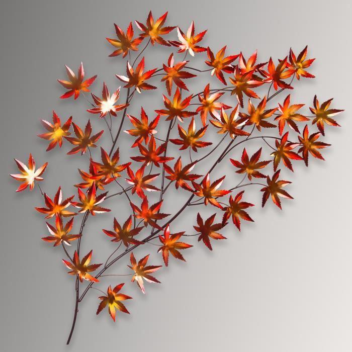 feuilles d 39 automne cadre en m tal sculpture murale r alis avec des techniques artisanales. Black Bedroom Furniture Sets. Home Design Ideas