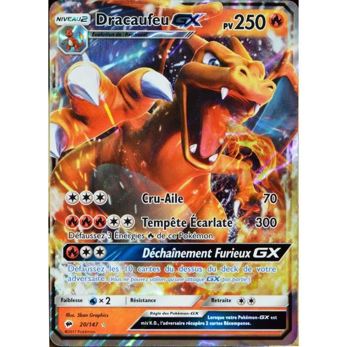 Carte pok mon 20 147 dracaufeu gx 250 pv sl3 soleil et lune ombres ardentes neuf fr achat - Tout les carte pokemon ex du monde ...