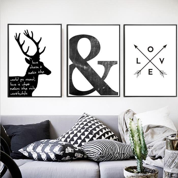 tableau toile abstrait symbole toile peinture noir blanc nordic