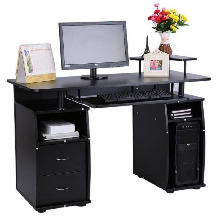 Table de travail bureau d\'ordinateur noir design moderne avec tiroir ...