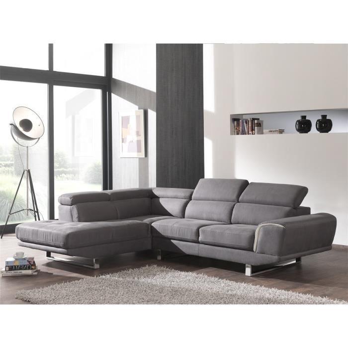 Salon d\'angle moderne gris avec tétières Meuble House. - Achat ...