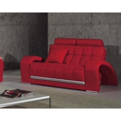 Canape Cuir 2 Places En Rouge Et Gris Design Achat Vente Canape