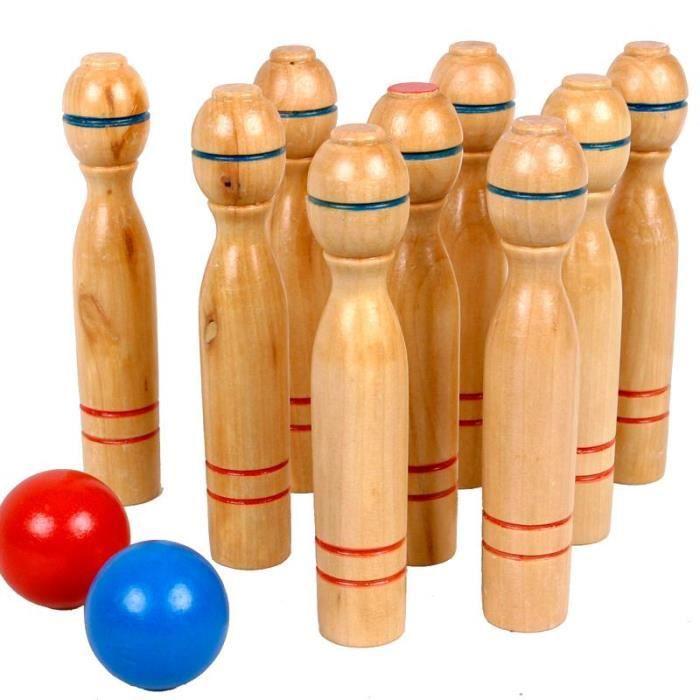 jeu de 9 quilles en bois vernis 2 boules jouet en bois 16 cm