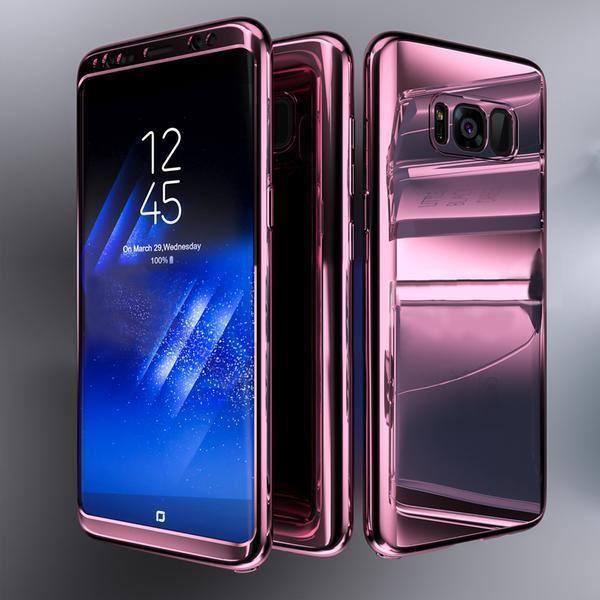 Coque Intégrale pour Samsung Galaxy S8 Miroir Rose Avec Film de Protection  Anti chocs et Rayures 4a321b4939bf