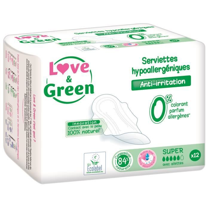 SLIP JETABLE  LOVE AND GREEN Paquet 12 Serviettes Super Femme Hy