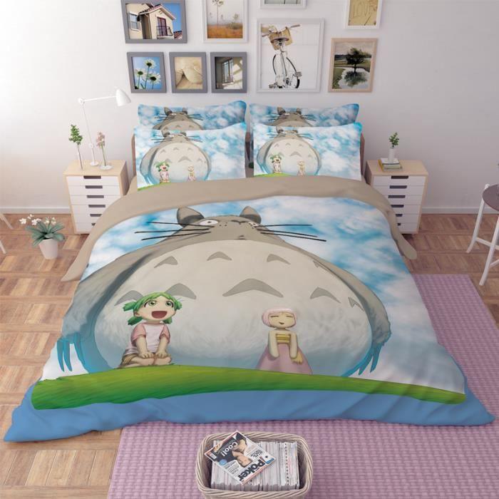 parure de lit totoro 200 230 cm 4 pieces achat vente parure de drap cdiscount. Black Bedroom Furniture Sets. Home Design Ideas