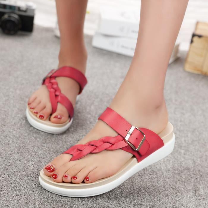 Sandales femmes mode cuir plat