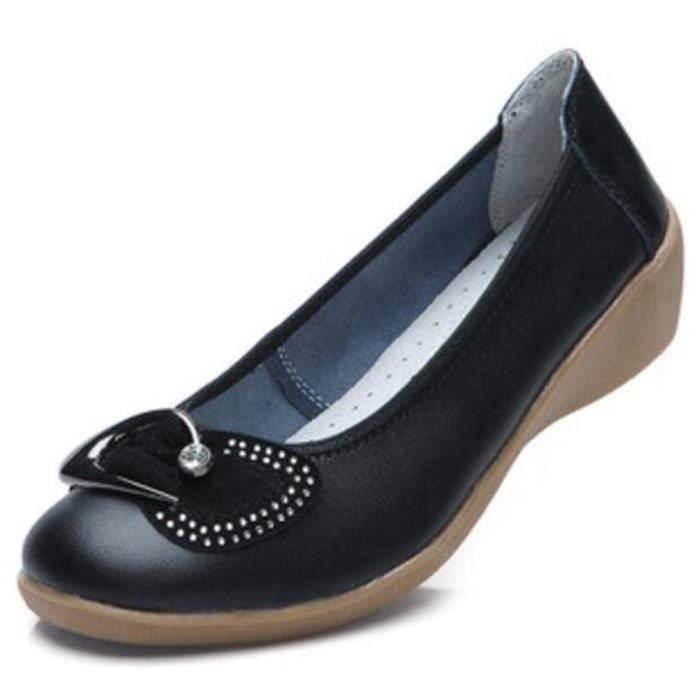 Chaussures Femme Cuir Haute Qualité Comfortable Chaussure GD-XZ047Noir36