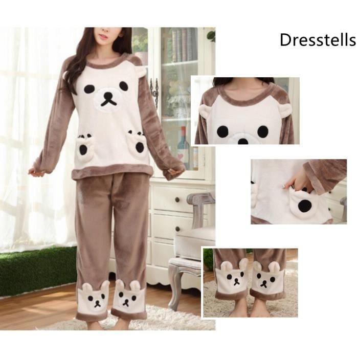 Nouveaux produits 20d81 6df72 Dresstells Pyjama Polaire Femme Chemise de Nuit Ensemble Manches Longues  Col Rond