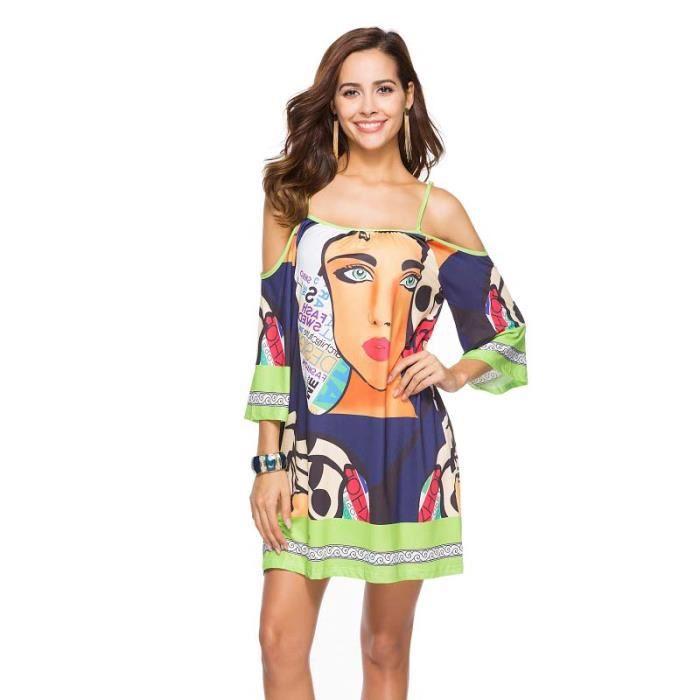 Robe femme grande taille soie de lait impriméeFXG-NZ017